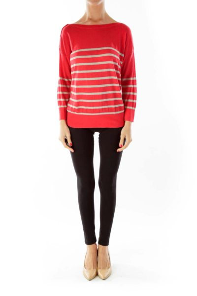 Red Button-Shoulder Knit Top