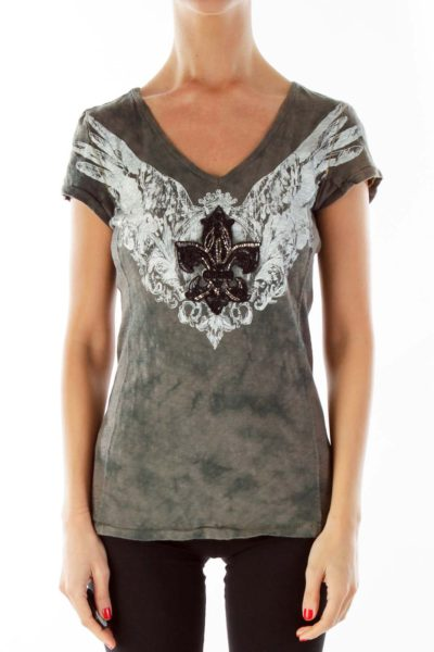 Gray Print Beaded Graphic Tee