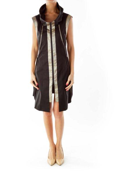 Black Silver Cowl Neck Dress