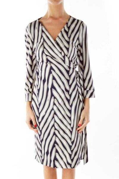 Navy Cream Silk Wrap Dress