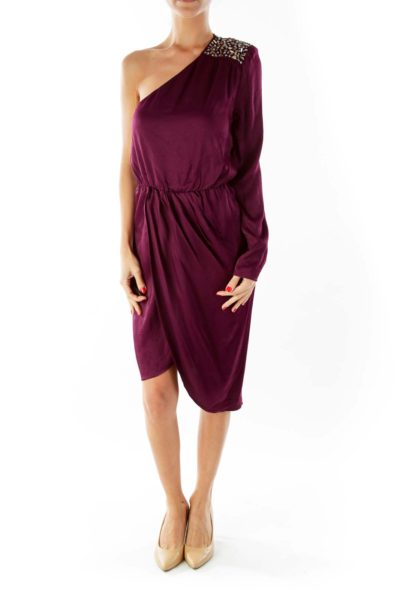 Purple One Shoulder Beaded Dress