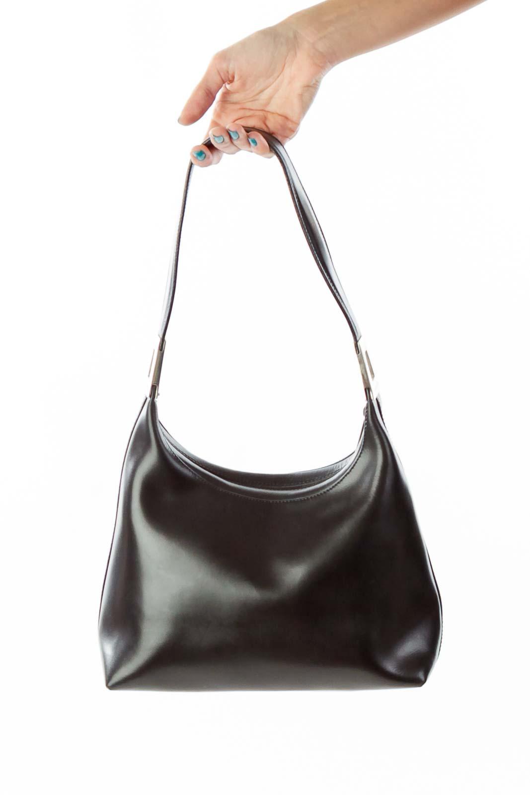 Black Leather Metallic Shoulder Bag
