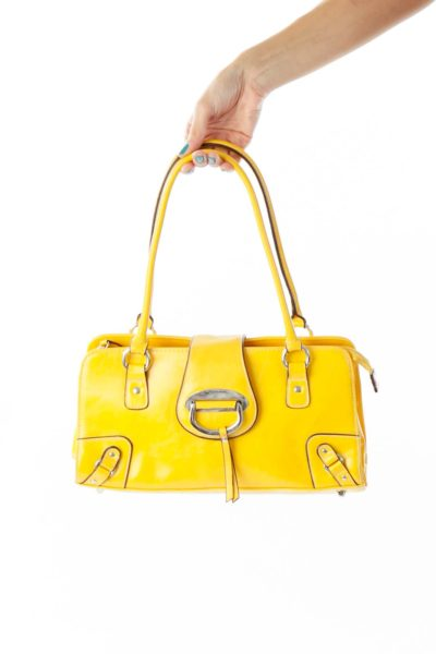 Yellow Faux-Leather Shoulder Bag