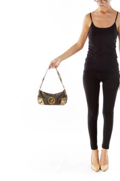 Brown Gold Metallic Studded Shoulder Bag