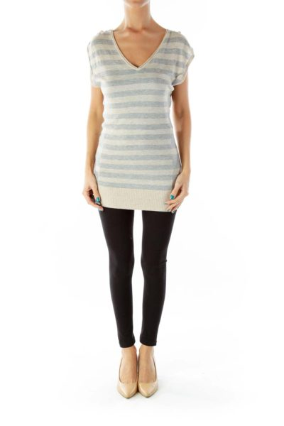 Beige Gray Striped Fitted Knit Top