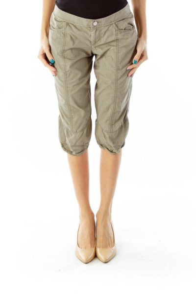 Crocodile Green Pocketed Cropped Pants