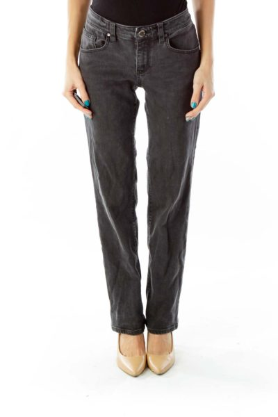 Gray Mid-Rise Straight-Leg Jeans