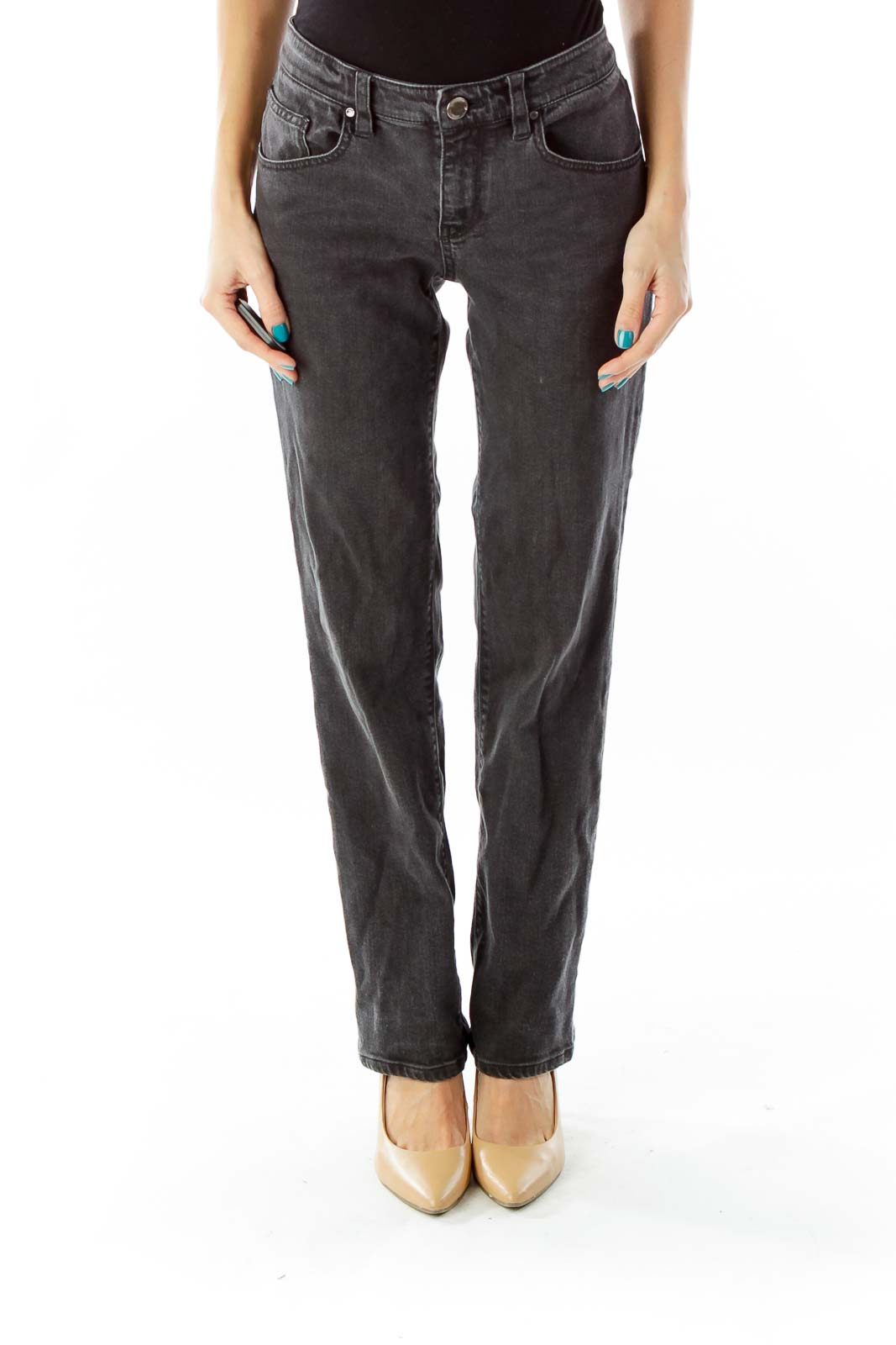 Gray Mid-Rise Straight-Leg Jeans