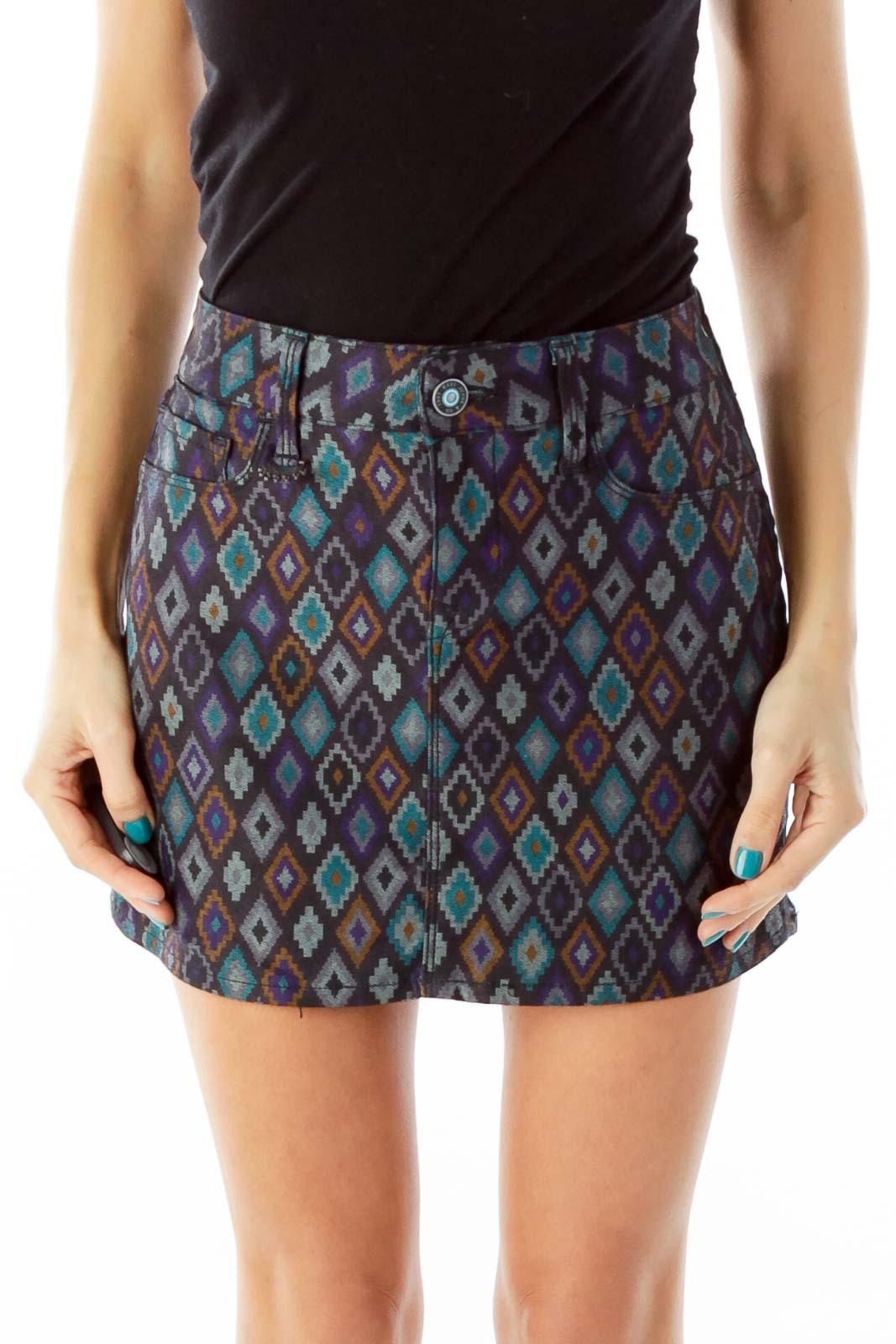 Multicolor Geometric Print Denim Skirt