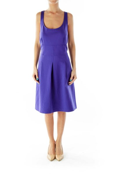 Purple Sleeveless Round-Neck Fitted Day Dress