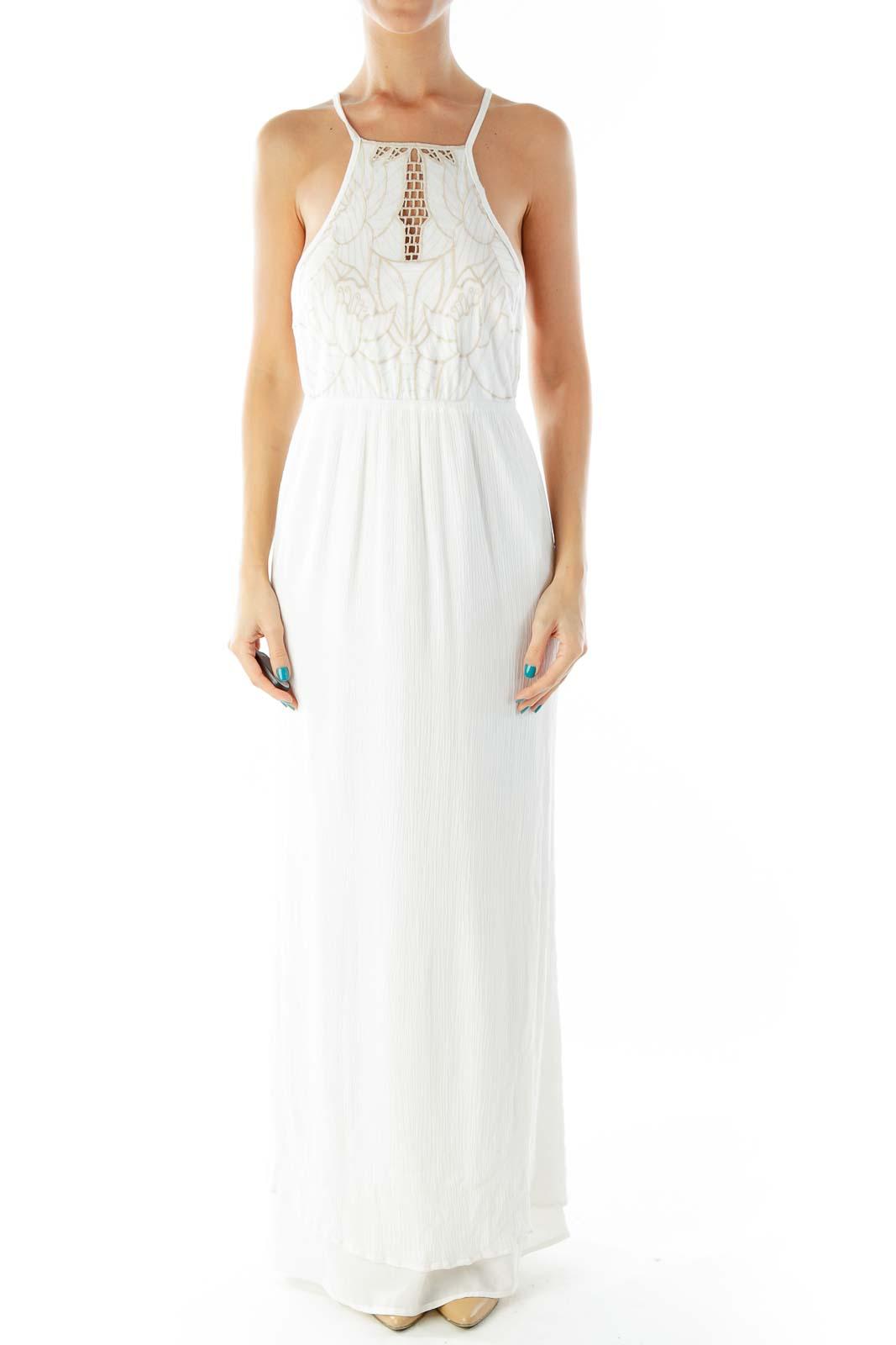 White Beige Embroidered Spaghetti Strap Maxi Dress