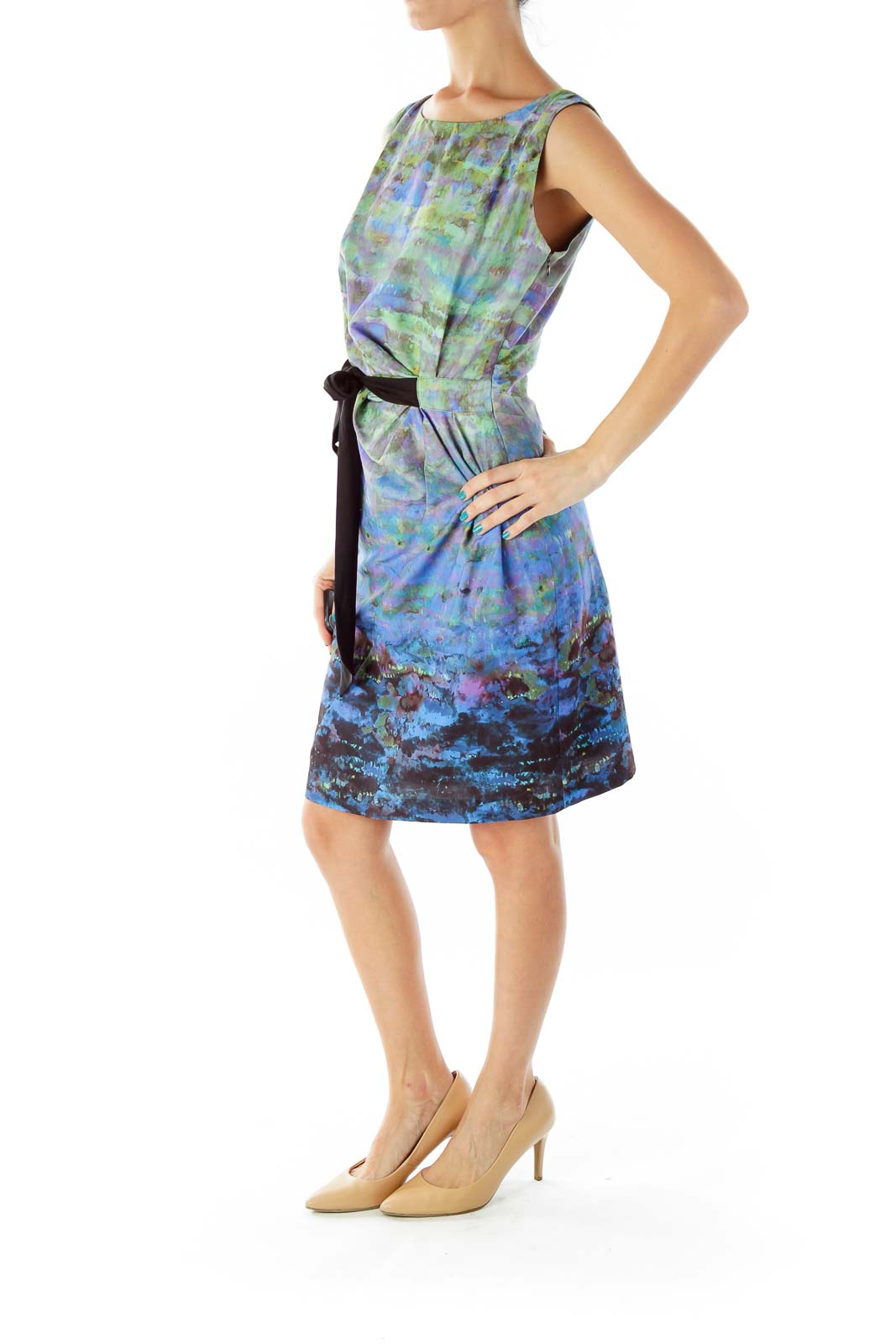 Multicolor Watercolor-Print Belted Day Dress