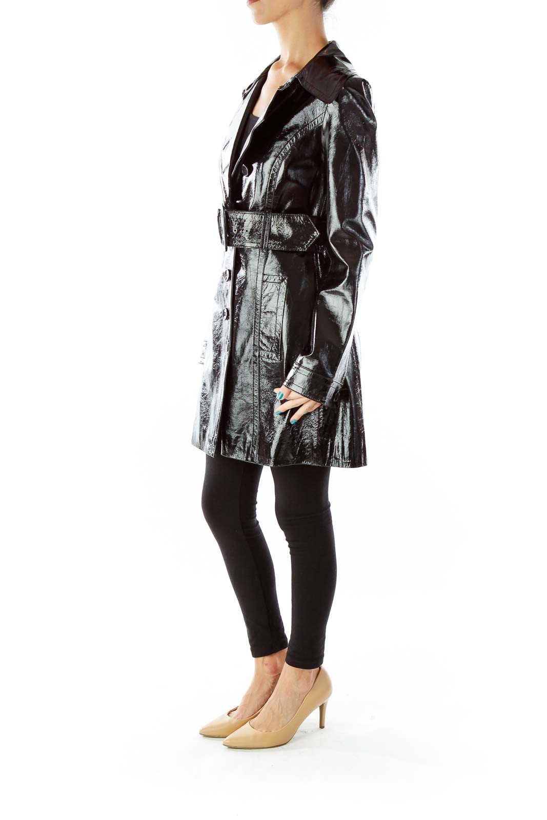Black Belted Pocketed PU Leather Trench Coat