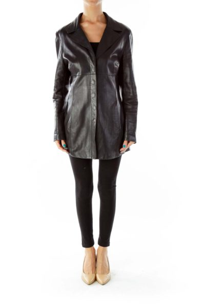 Black Buttoned Pocketed Leather Jacket
