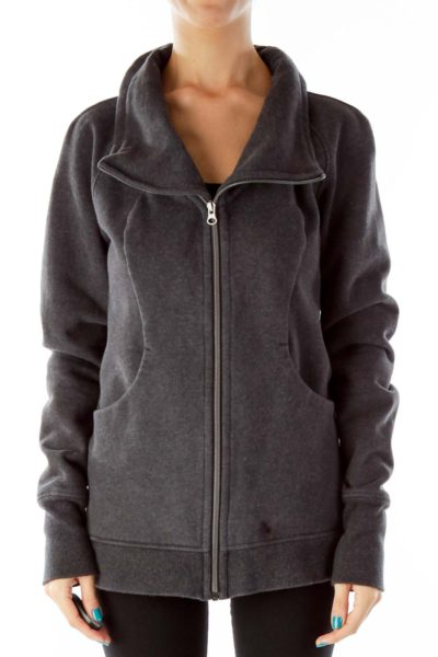 Gray Zip Up Sweat Shirt