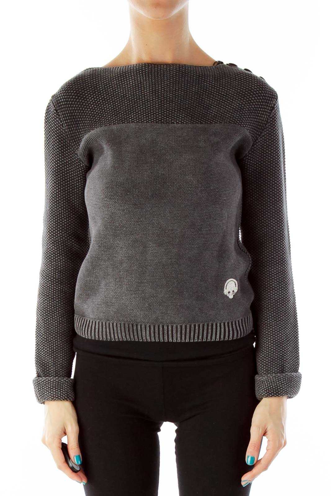 Gray Buttoned Knit Top