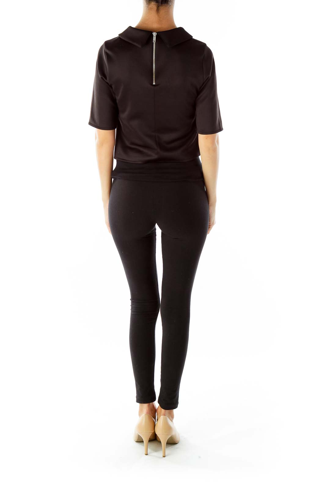 Black Three-Quarter-Sleeve Top