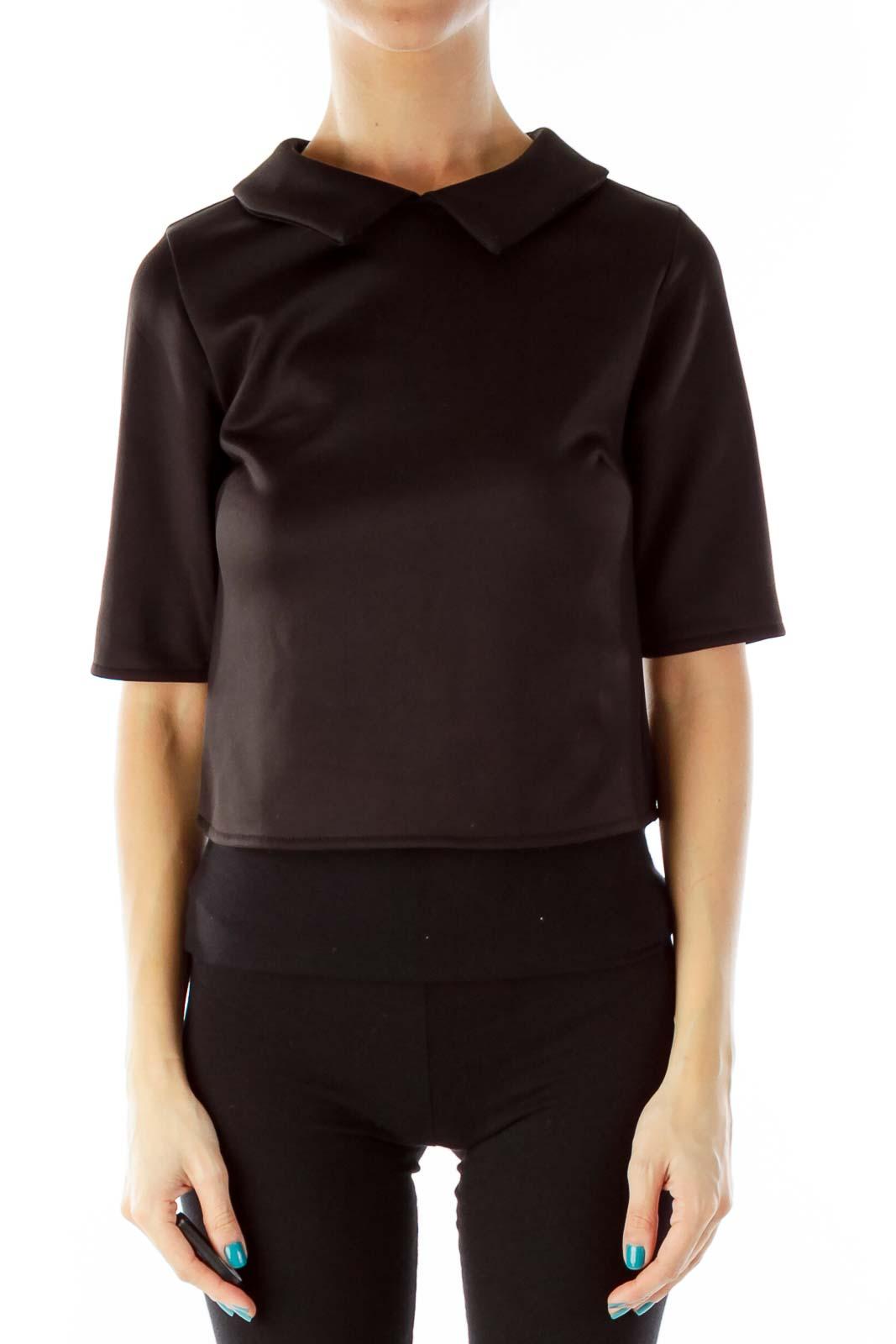 Black Three-Quarter-Sleeve Top