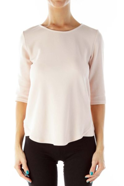 Pink Round Neck Three-Quarter-Sleeve Blouse