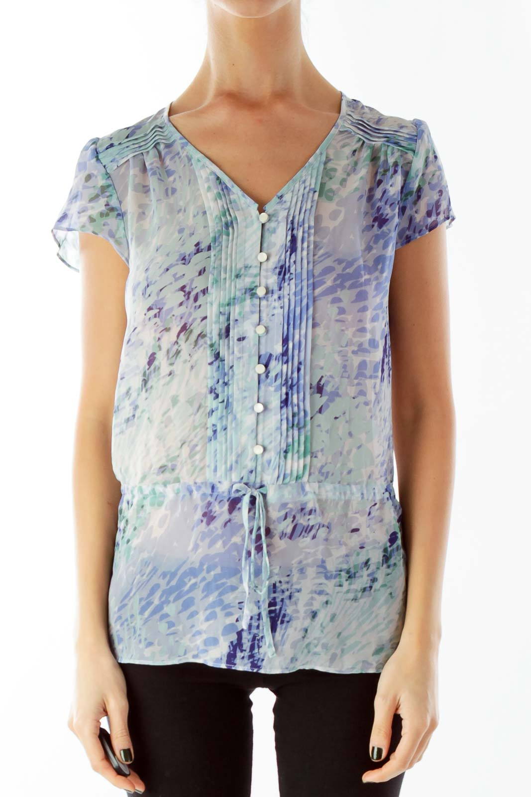 Blue Green V-Neck Buttoned Pleated Blouse
