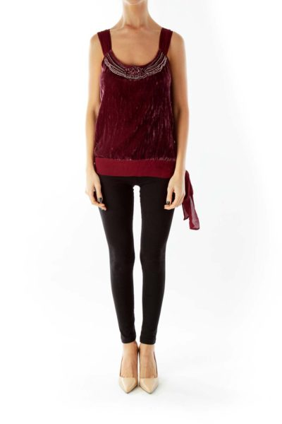 Wine Velvet Beaded Belted Blouse