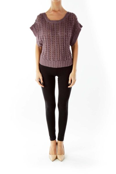 Purple Crocheted Cropped Knit Top