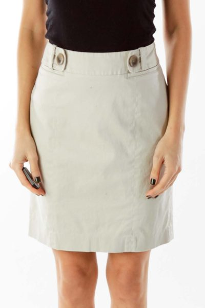 Beige Buttoned Pencil Skirt