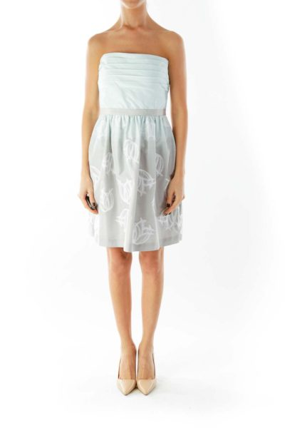 Green Gray Strapless Embroidered Striped Cocktail Dress