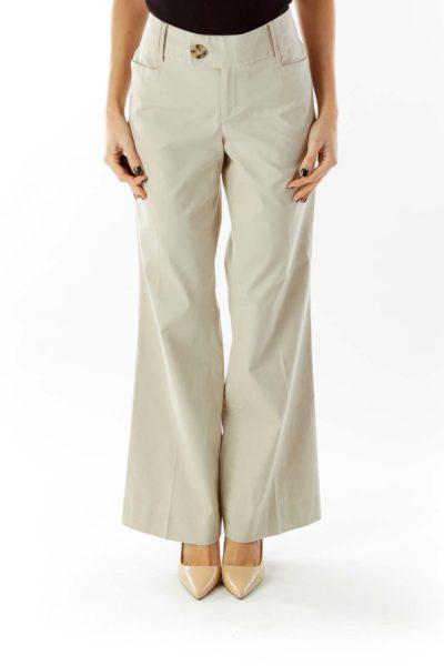 Beige Striped Wide-Leg Pants