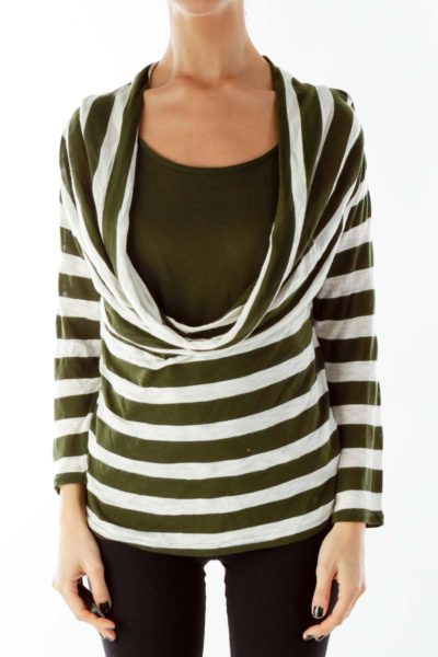 Green Beige Stripped Loose Layered Knit Top