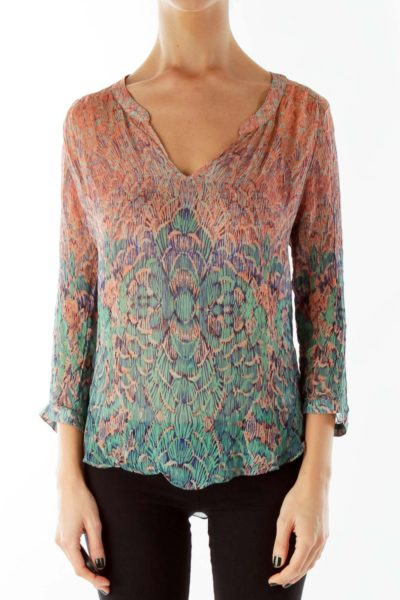 Multicolor V-Neck Loose Print Blouse