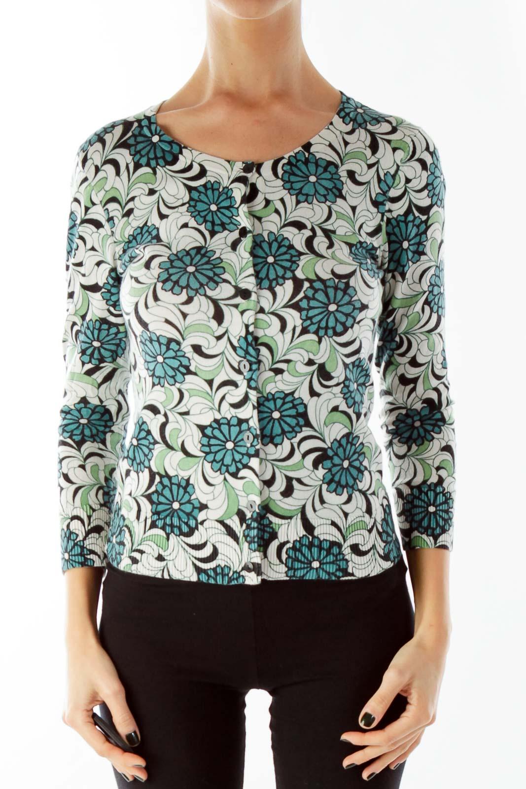 Blue Green Beige Buttoned Flower Print Knit Top