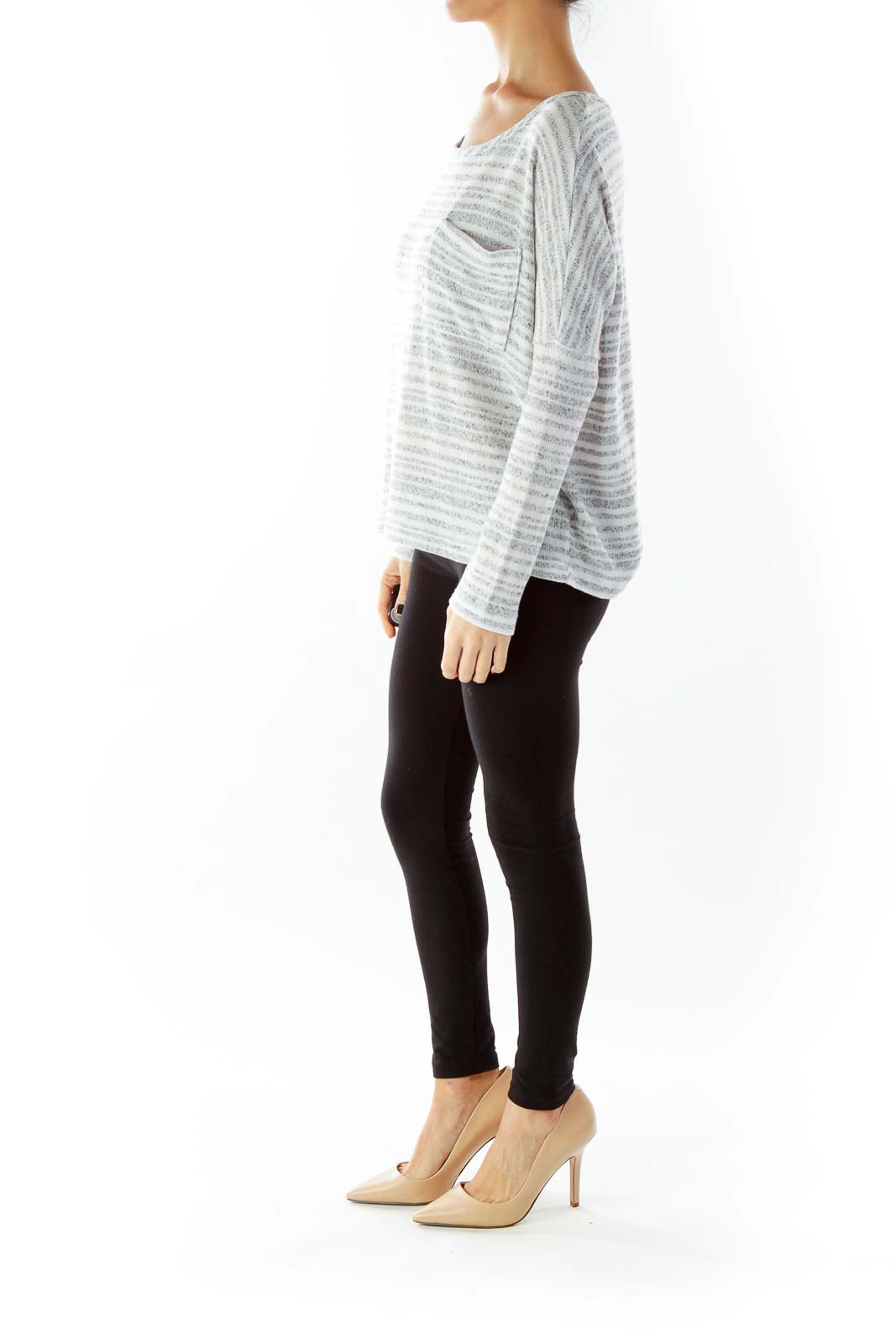 Gray Beige Striped Pocketed Loose Knit Top