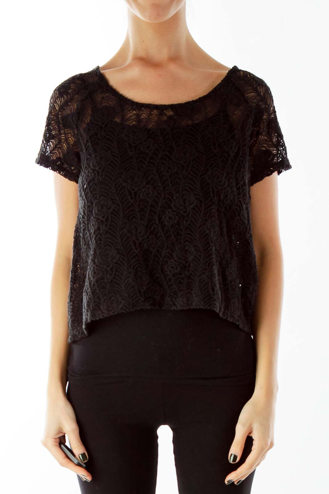 Black Lace Open-Back Buttoned Top