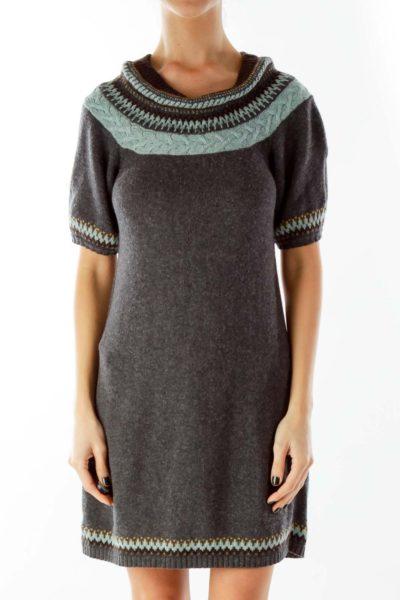 Gray Blue Knit Dress