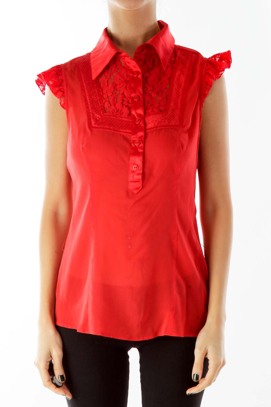 Red Lace Sleeveless Blouse