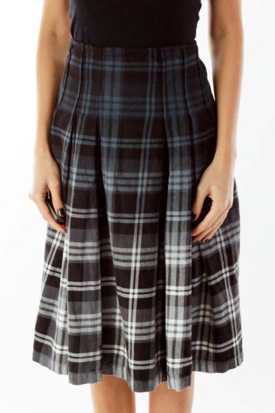 Multicolor Plaid Midi Skirt