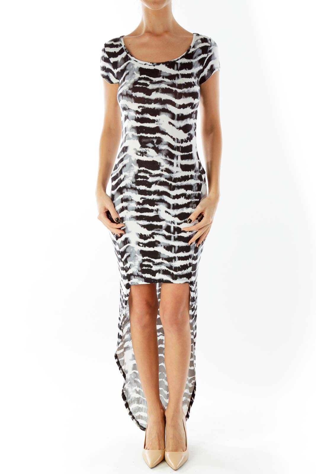 Black White Zebra Print High Low Day Dress