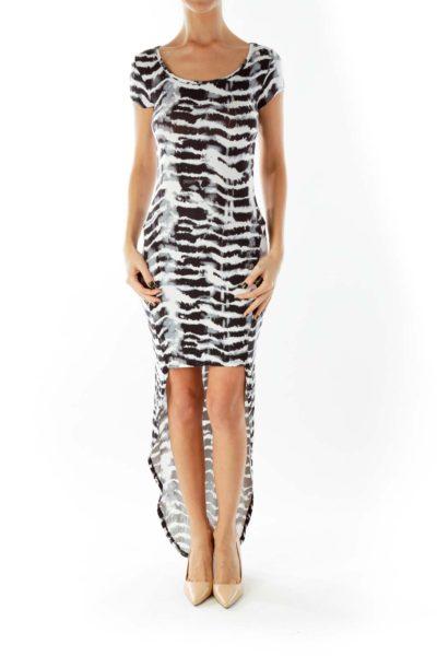 Black White Zebra Print High Low Day Dress