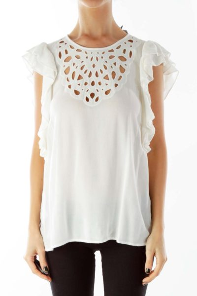 Ivory Ruffled Cut-Out Blouse