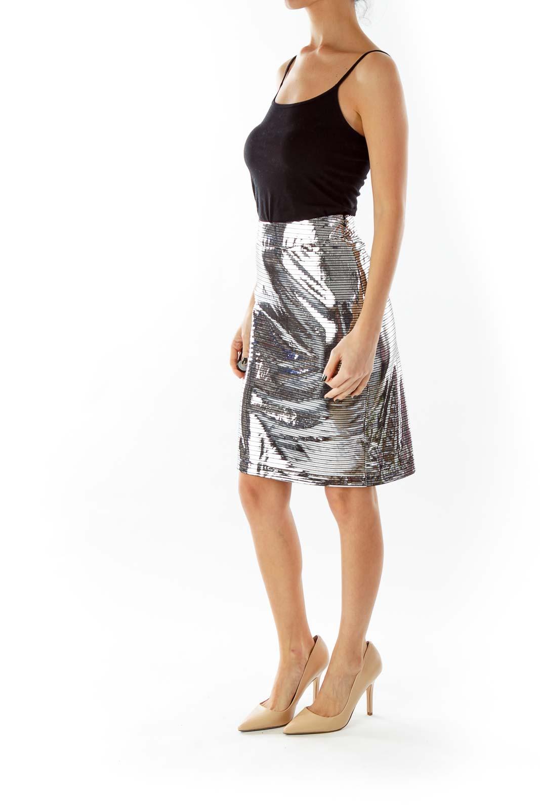 Silver Metallic Pencil Skirt