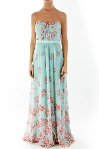 Tiffany Blue Red Strapless Print Maxi Dress