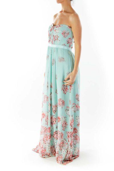 Tiffany Blue Red Strapless Print Maxi Dress