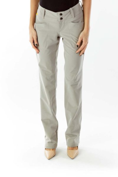 Beige Pocketed Buttoned Straight-Leg Sports Pants