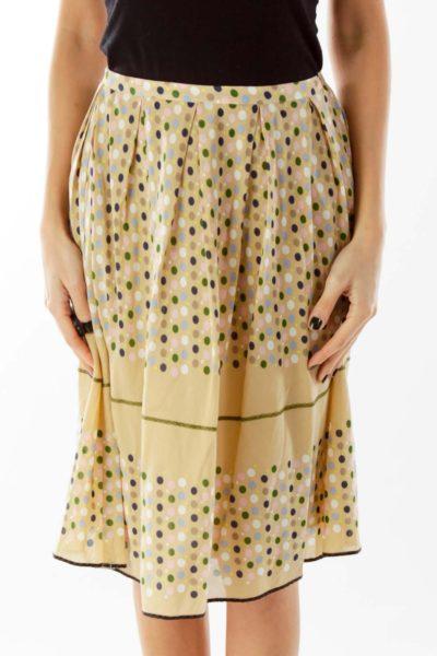 Multicolor Polka-Dot Midi Skirt