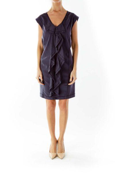 Gray Frill Ruffled Shift Day Dress