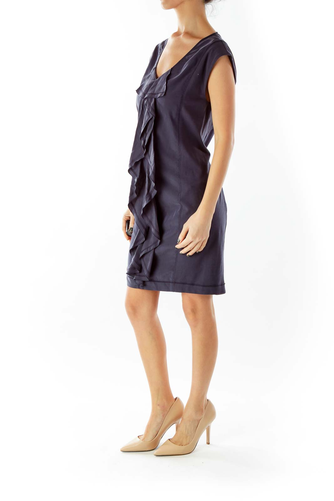Gray Frill Ruffled Shift Day Dress