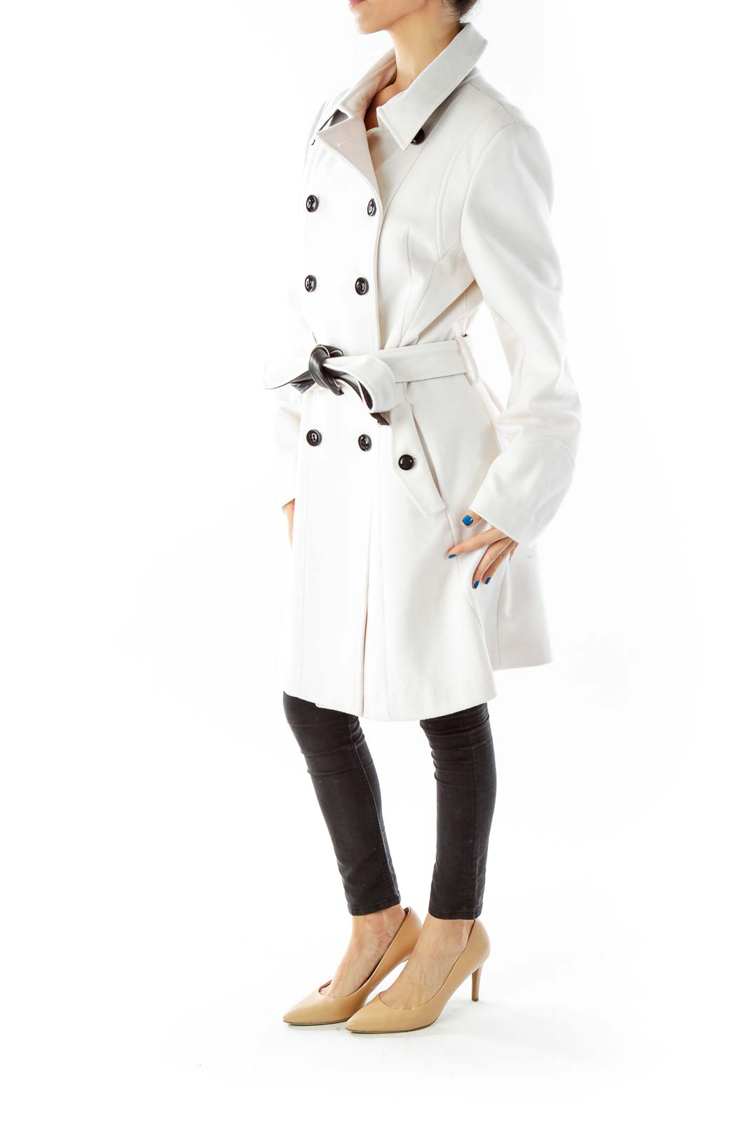 Cream Belted Double-Breasted Coat