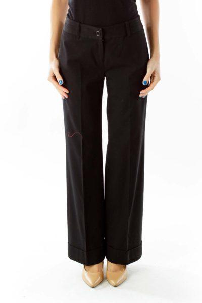 Black High-Waisted Wide-Leg Pants