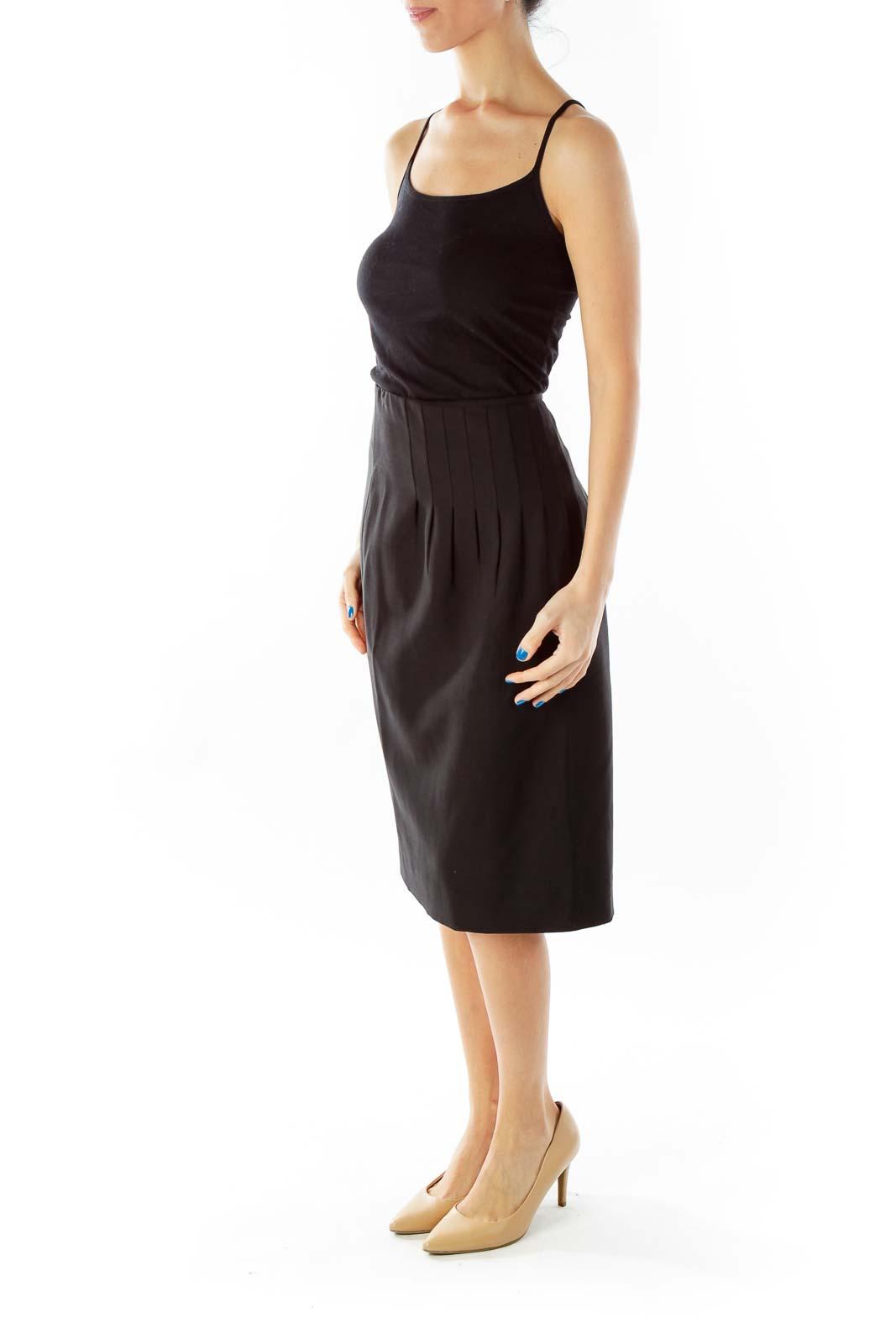 Black Flared Asymmetrical Midi Skirt